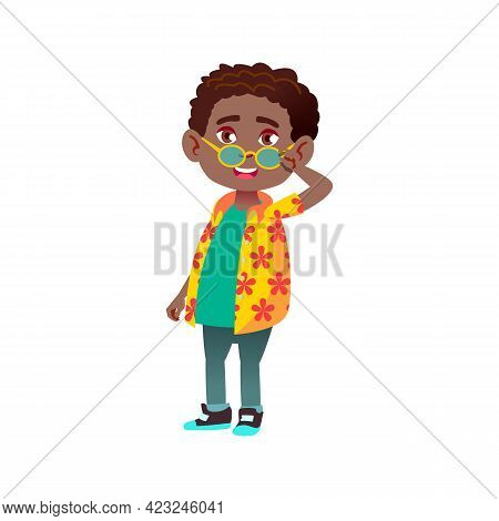 Happy African Boy Infant Lowering Glasses From Face For Better Look At Friend Cartoon Vector. Happy