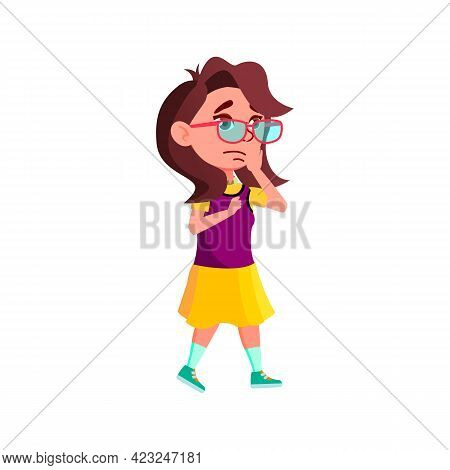 Frustrated Girl Infant Shocking From Accident Cartoon Vector. Frustrated Girl Infant Shocking From A