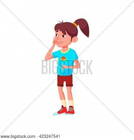 Thoughtful Caucasian Girl Make Choice Of Dessert In Bakery Shop Cartoon Vector. Thoughtful Caucasian