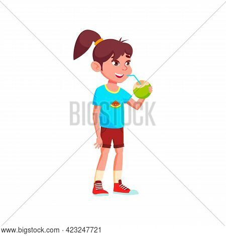 Cute Girl Infant Drinking Coconut Milk From Natural Exotic Nut On Vacation Cartoon Vector. Cute Girl