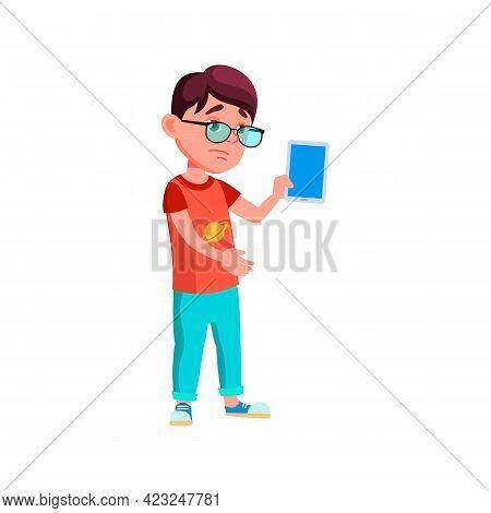 Sad Boy Kid Bring Broken Tablet In Service Cartoon Vector. Sad Boy Kid Bring Broken Tablet In Servic