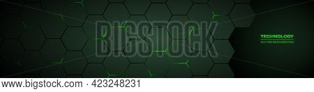 Dark Green Horizontal Hexagonal Technology Abstract Vector Background. Green Bright Energy Flashes U