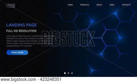 Landing Page Website Template Design. Hexagonal Technology Concept Of Web Page Design For Website. M