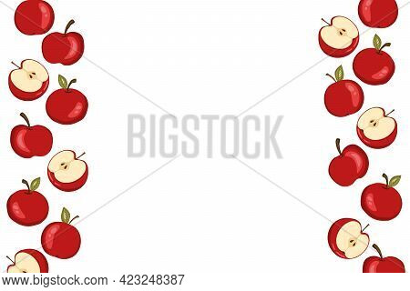 Apple Icon Set Solated On White Background. Frame With Natural Delicious Fresh Ripe Tasty Fruit. Tem
