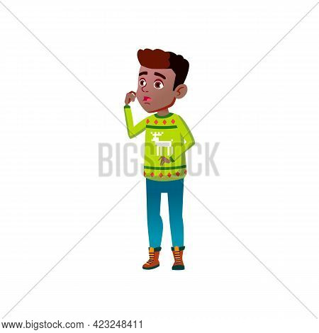 Surprised African Boy Looking At Amazing Architecture Building Cartoon Vector. Surprised African Boy