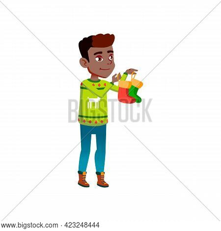 Smiling Boy Teenager Holding Socks For Santa Claus Presents Cartoon Vector. Smiling Boy Teenager Hol