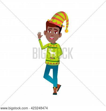 Funny Boy Teen Wearing Elf Hat Enjoying On Xmas Party Cartoon Vector. Funny Boy Teen Wearing Elf Hat