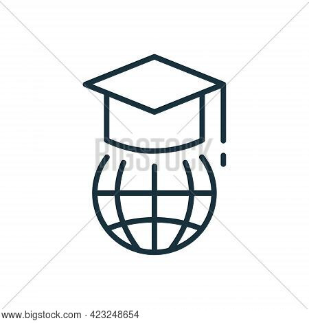Education In Global World Linear Icon. Graduation Cap And Online Education Line Icon. Graduation Hat