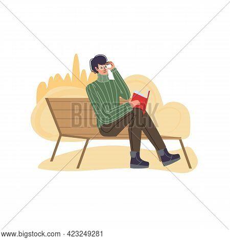 Vector Flat Cartoon Character In Summer Season Sitting On Bench, Read Book Outdoor - Fashion, Emotio
