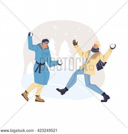 Vector Flat Cartoon Characters In Winter Season Outdoor Playing Snowballs - Fashion, Emotions, Healt