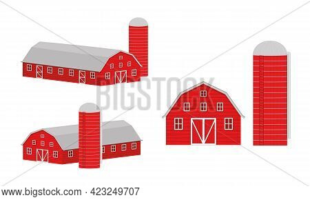 Wooden Barn And Silo For Grain Storage Front And Isometric View. Red Farm Warehouse Building And Con