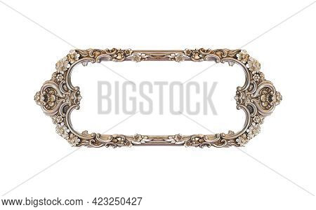 Rectangular Empty Wooden And Silver Gilded Frame Isolated On White Background