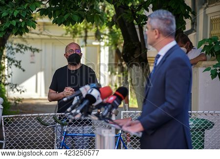 Bucharest, Romania - May 12, 2021: Teodor Tita Looks At Dan Barna Co-chairman Of Usr-plus During A P