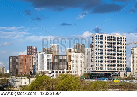 Dense Urban Development With Residential Skyscrapers. The Problem Of Overpopulation In A Big City. R