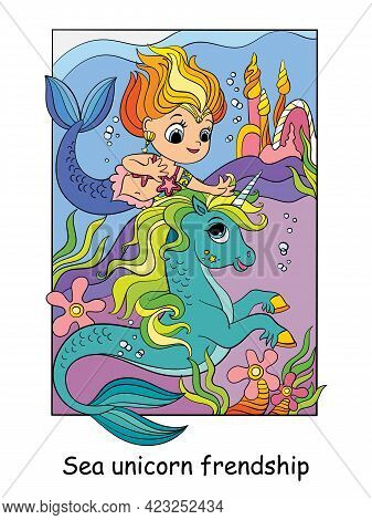 Cute Mermaid And Unicorn Swim Under The Water. Vector Colorful Cartoon Illustration In Children Styl