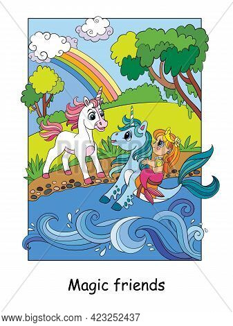 Cute Unicorn Met A Mermaid On A Seahorse. Vector Colorful Cartoon Illustration In Children Style. Fo