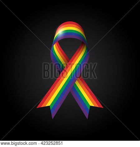 Lgbtq Community Pride Month With Ribbon Rainbow Stripe Line. Design Element Can Be Used For Backdrop