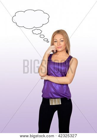 Attractive woman thinking isolated on purple background