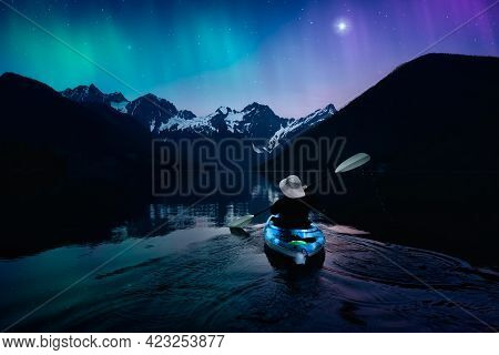 Adventure Person Kayaking In A Peaceful Lake At Night. Colorful Sky With Starts And Aurora Art Rende