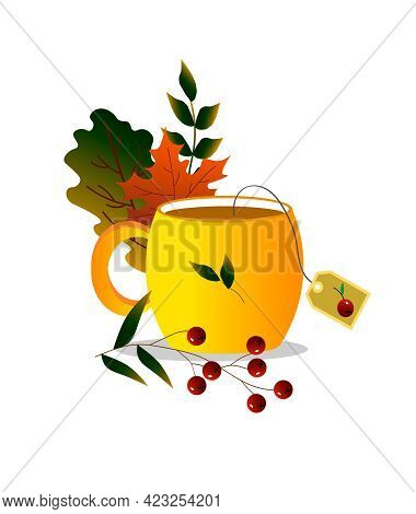 Yellow Cup Surrounded By Autumn Leaves And Berries. Vector Illustration. For Creating Decor In The I