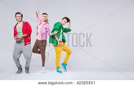Three young hip-hop dancers