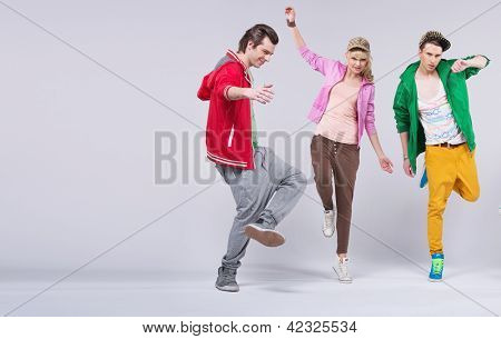 Three hip-hop dancers