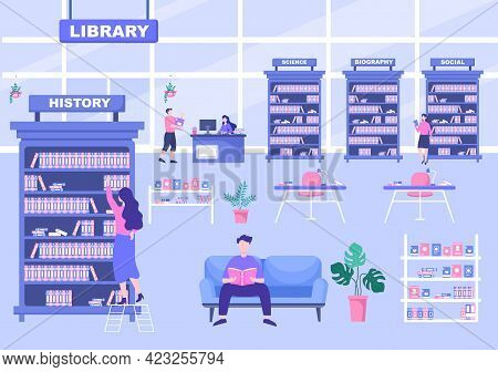 Library Contain Books On Shelf With Several People Reading, Standing, Sitting, Or Walking. Flat Desi