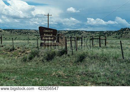 Colorado, Usa - May 18, 2021: Sign For The Comanche National Grassland In Rural Colorado