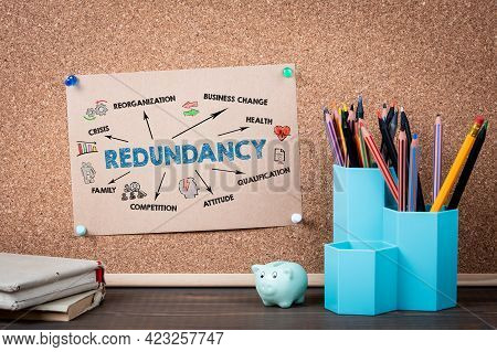 Redundancy. Crisis, Business Change, Health And Competition Concept. Desk With Office Supplies