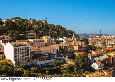 Scenery Of Saint George Castle And River Tagus At Lisbon In Portugal
