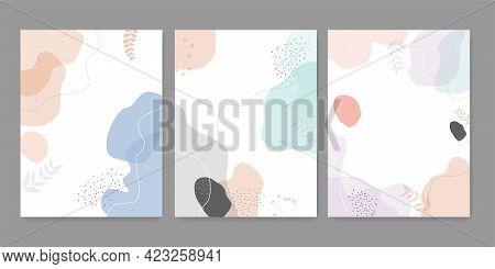 Vector Set Of Fluid Shapes Pastel Colors Cover Design.hand Drawn Fluid Shapes Background.vector Illu