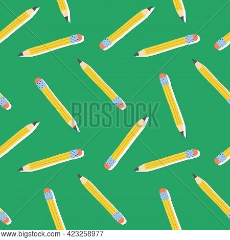 Cute School Seamless Pattern. Yellow Graphite Pencils On Green Background.