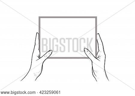 Hands Holding Tablet With Touchscreen. Horizontal Tablet In Hands Of A Human. Sketch Vector Illustra