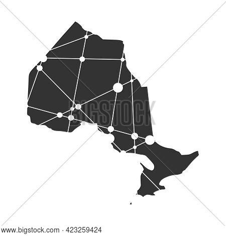 Map Of Ontario. Concept Of Travel And Geography Of Canada.