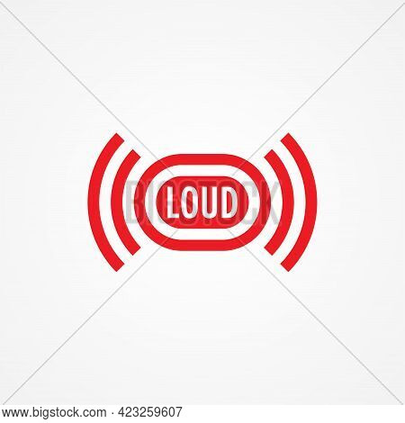 Loud Music Logo Design Template. Sound Vibration Logo Concept Isolated On White Background. Red Colo