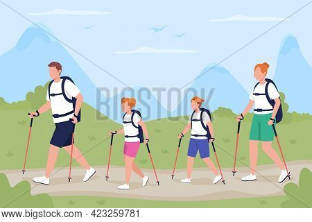 Family On Trekking Trip Flat Color Vector Illustration. Backpackers Exploring Trail In Forest. Outdo
