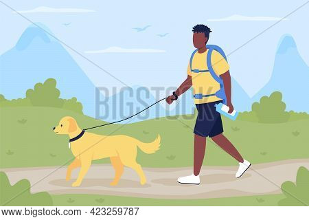 Trekker Walk With Dog Companion Flat Color Vector Illustration. Man With Labrador Exploring Trail In