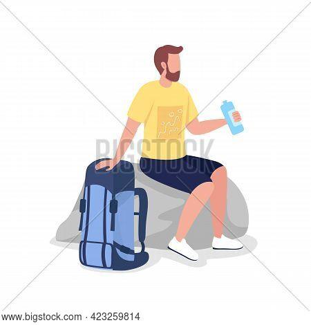 Resting Backpacker Semi Flat Color Vector Character. Trekker Figure. Full Body Person On White. Hike