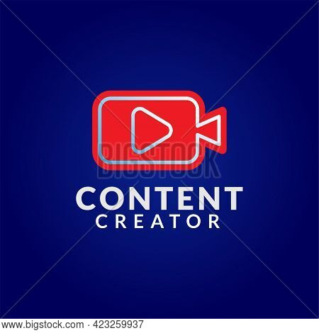 Content Creator Logo Design Template On Dark Blue Background. Pictorial Logo Concept With Red Camcor