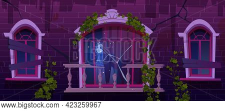 Old Haunted House With Woman Ghost In Window. Broken Abandoned Building With Boarded Up Windows And
