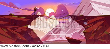 Mountain Landscape At Sunset With Hiker Man And Suspension Bridge Over Precipice Between Cliffs. Vec