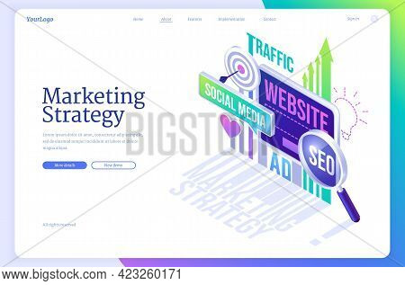 Marketing Strategy Isometric Landing Page. Business Concept With Digital Device Screen, Finance Anal