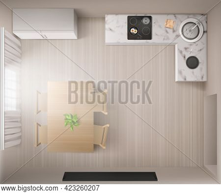 Kitchen Interior With Stove, Dining Table And Fridge In Top View. Vector Realistic Illustration Of E