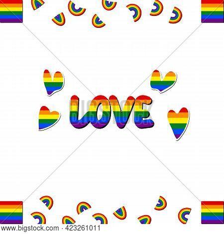Set Of Lgbt Icons. Flag Lgbt, Hearts, Rainbow. Template Design, Vector Illustration. Love Wins. Geom