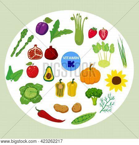 Set Of Vitamin K Origin Natural Sources. Healthy Diary Food, Green Vegetables, Fruits, Berries. Orga