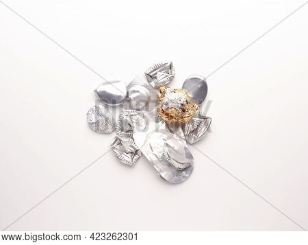Aluminum Waste On A White Background, Aluminum In Daily Use, Recycling Concept