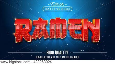 Editable Text Style Effect - Ramen Text Style Theme. Graphic Design Elements.