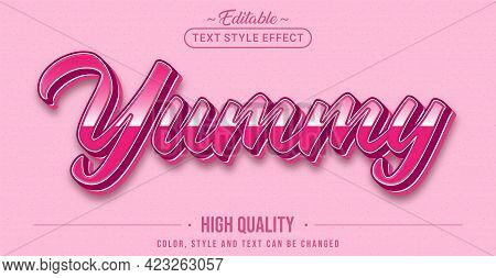 Editable Text Style Effect - Yummy Text Style Theme. Graphic Design Elements.