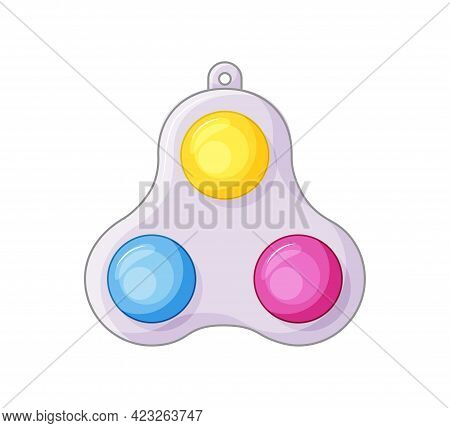 Simple Dimple Antistress Toy On White Background. 3 Color. Antistress Toys Fidget Sensory Pop It And