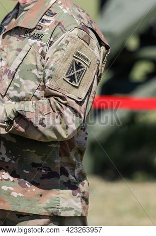 Capu Midia, Romania - June 9, 2021: Details With The Us Army Ranger Tab On The Shoulder Sleeve Insig